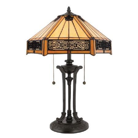 Quoizel Indus Tiffany Table Lamp Vintage Bronze