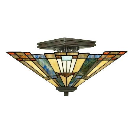 Quoizel Inglenook Tiffany Semi Flush Light Valiant Bronze
