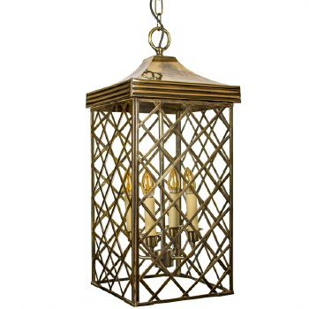 Ivy Hanging Lantern Large - Light Antique Brass