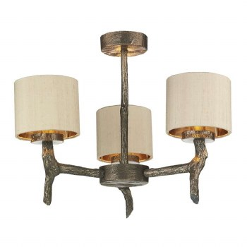 David Hunt JOS0301 Joshua 3 Light Pendant with Taupe Silk Shades