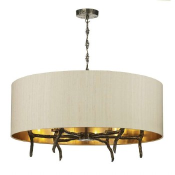 David Hunt JOS0601 Joshua 6 Light Shaded Pendant with Taupe Silk Shade