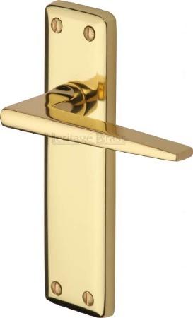 Heritage Kendal Latch Door Handles KEN6810 Polished Brass Lacquered