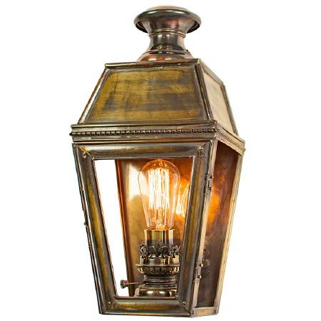 Kensington Passage Flush Outdoor Wall Lantern Single Light, Light Antique Brass