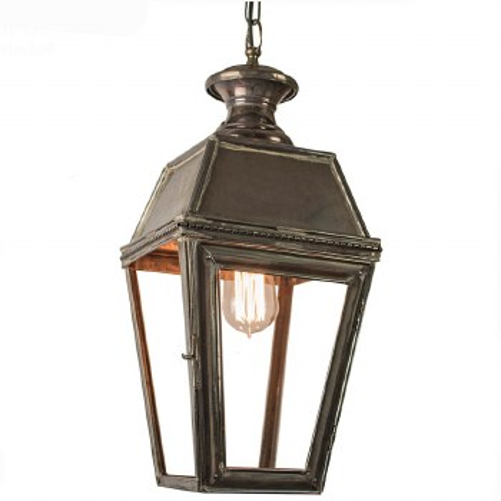 Kensington Hanging Pendant Lantern with Single Light, Antique Brass