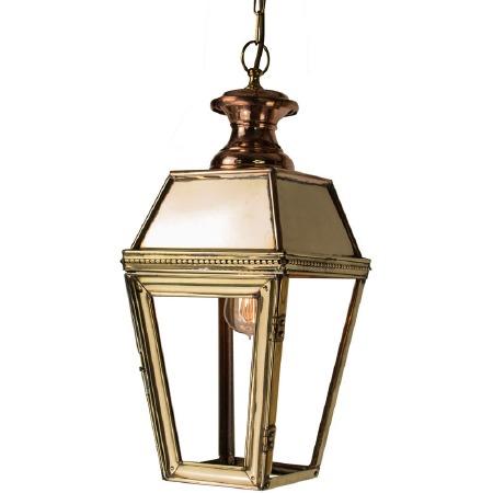 Kensington Hanging Pendant Lantern with Single Light Polished Brass Unlacquered
