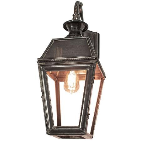 Kensington Overhead Arm Outdoor Wall Lantern, Antique Brass