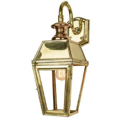 Kensington Overhead Arm Outdoor Wall Lantern Polished Brass Unlacquered