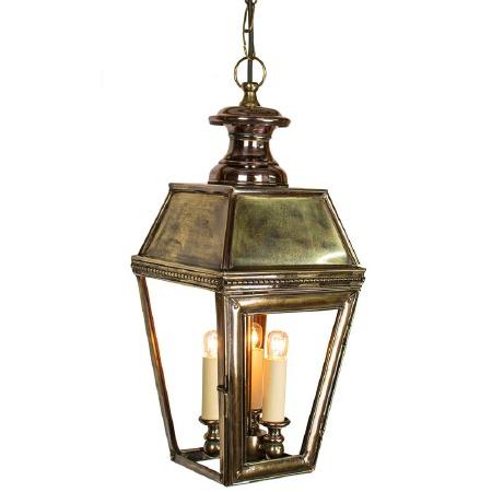 Kensington Pendant Lantern with 3 Light Cluster Renovated Brass