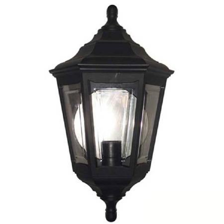 Elstead Kinsale Flush Outdoor Wall Light Lantern Black