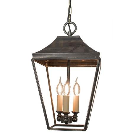 Knightsbridge Hanging Pendant Lantern with 3 Cluster Lights, Antique