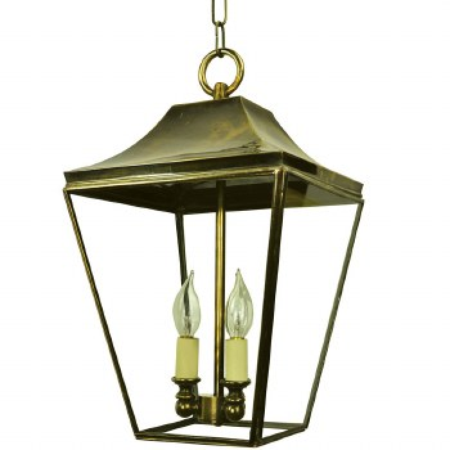 Knightsbridge Hanging Pendant Lantern with 3 Cluster Lights, Light Antique