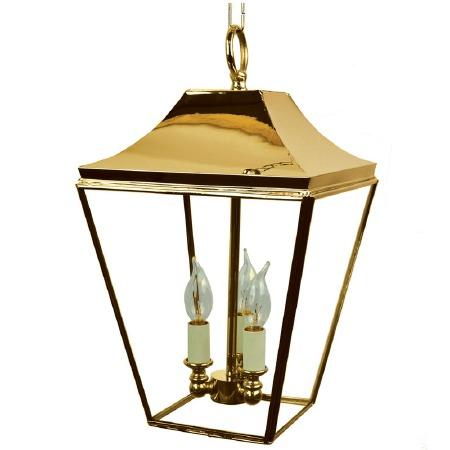 Knightsbridge Hanging Pendant Lantern with 3 Cluster Lights, Polished Brass
