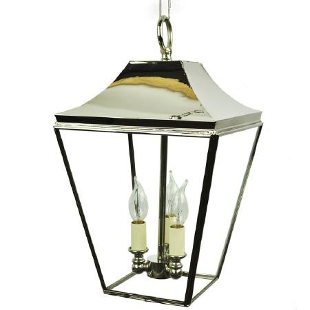 Knightsbridge Hanging Pendant Lantern with 3 Cluster Lights, Polished Nickel