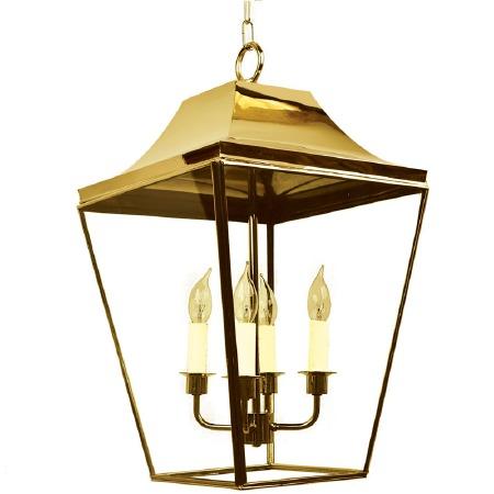 Knightsbridge Hanging Pendant Large Lantern Polished Brass