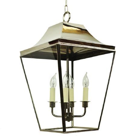 Knightsbridge Hanging Pendant Large Lantern Polished Nickel