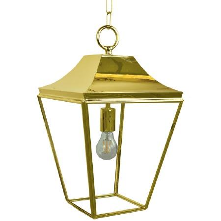 Knightsbridge Hanging Pendant Medium Lantern Polished Brass