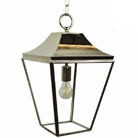 Knightsbridge Hanging Pendant Medium Lantern Polished Nickel