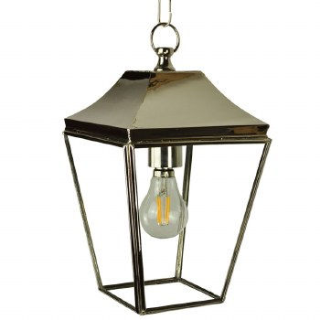 Knightsbridge Hanging Pendant Small Lantern Polished Nickel