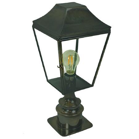 Knightsbridge Outdoor Pillar Lamp Short Antique Brass