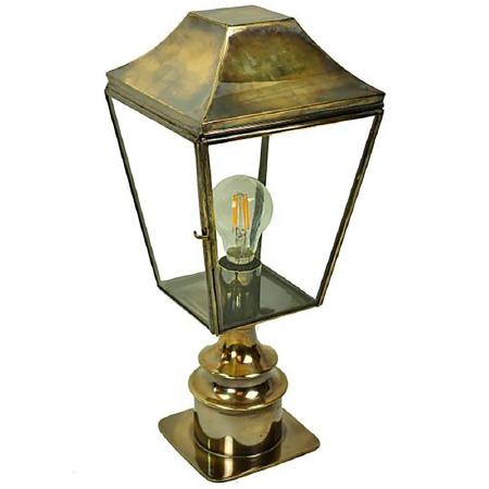 Knightsbridge Outdoor Pillar Lamp Short Light Antique Brass