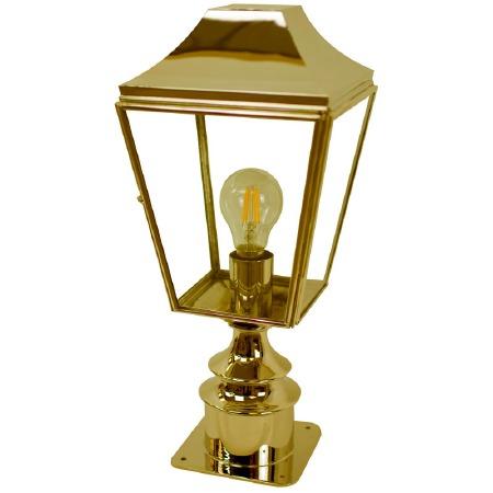 Knightsbridge Outdoor Pillar Lamp Short Polished Brass