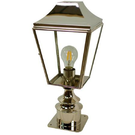 Knightsbridge Outdoor Pillar Lamp Short Polished Nickel