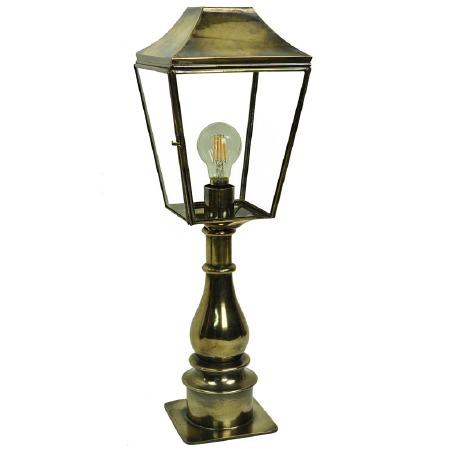 Knightsbridge Outdoor Pillar Lamp Tall Light Antique Brass