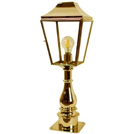 Knightsbridge Outdoor Pillar Lamp Tall Polished Brass