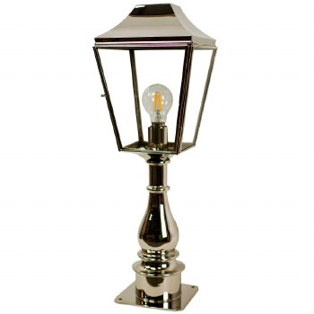 Knightsbridge Outdoor Pillar Lamp Tall Polished Nickel