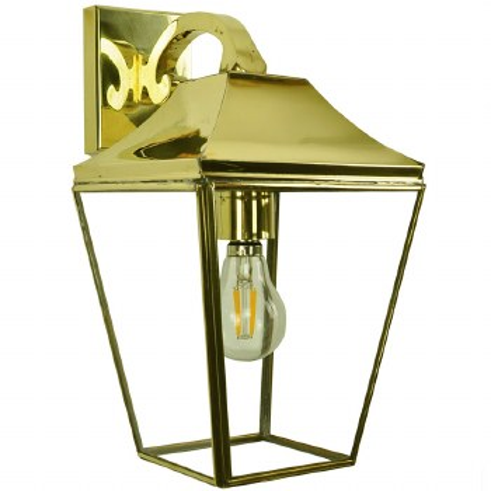 Knightsbridge Outdoor Overhead Wall Lantern Polished Brass