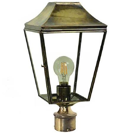 "Knightsbridge Lamp Post Head to suit 2"" dia. Light Antique Brass"