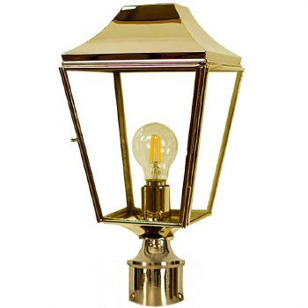 "Knightsbridge Lamp Post Head to suit 2"" dia. Polished Brass"