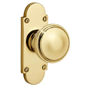 Victorian 607K Knob on Latch Plate  Polished Brass Unlacquered