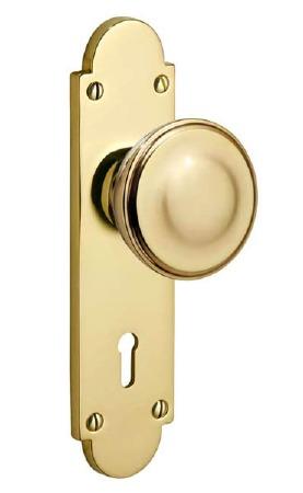 Victorian Constable 604K Door Knobs Polished Brass Unlacquered