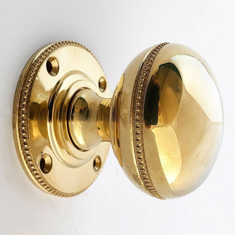 Polished Solid Brass 55mm Bun Cottage Rim Door Knob Set Pair