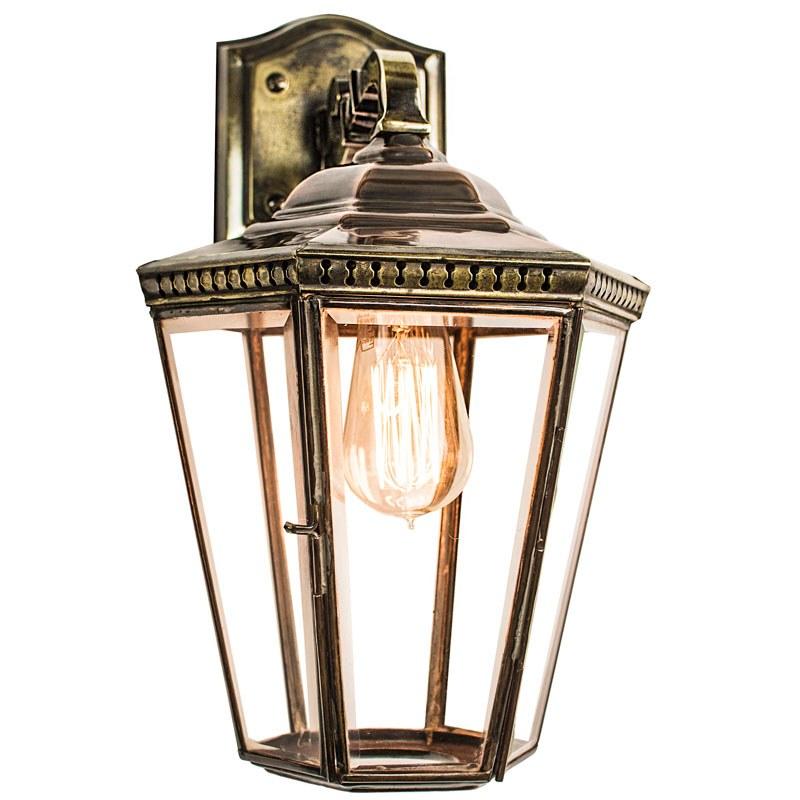 online retailer cd2e3 ffc7e Chelsea Overhead Arm Outdoor Wall Lantern Light Antique Brass