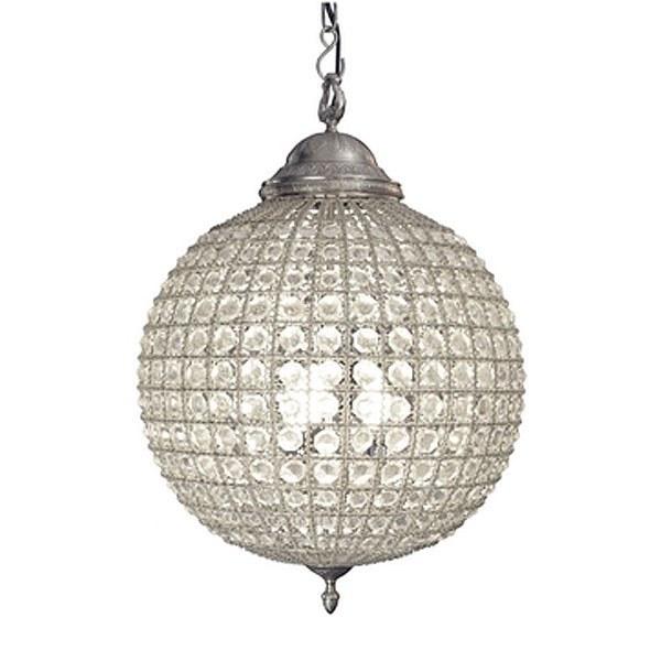 Crystal Globe Chandelier Antique Pewter Large