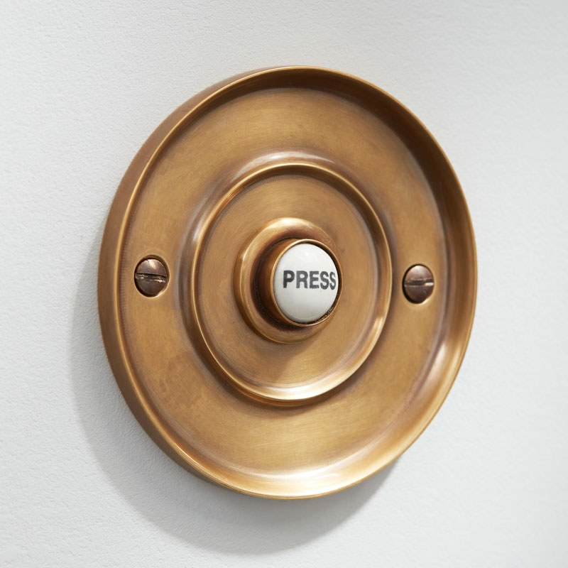 SOLID BRASS OLD VINTAGE STYLE FRONT DOOR BELL PUSH DOOR BELL PUSH WIRED