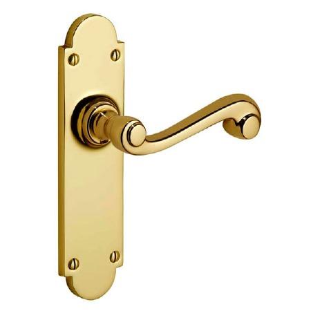 Victorian Constable 605 Door Handles Polished Brass Unlacquered