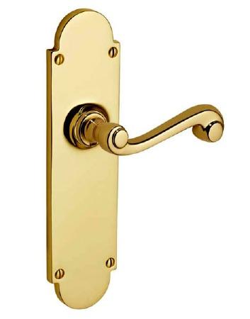 Victorian Constable 619/1 Door Handles Polished Brass Unlacquered