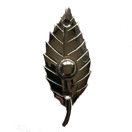 Leaf Bell Push Polished Nickel