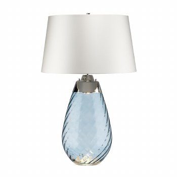 Elstead Lena Large Dual Light Blue Glass Table Lamp with White Shade