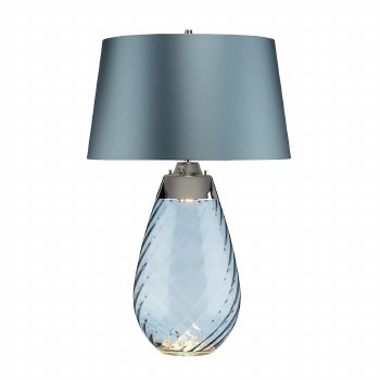 Elstead Lena Large Dual Light Blue Glass Table Lamp with Blue Shade