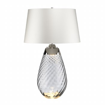 Elstead Lena Large Dual Light Smoke Glass Table Lamp with White Shade