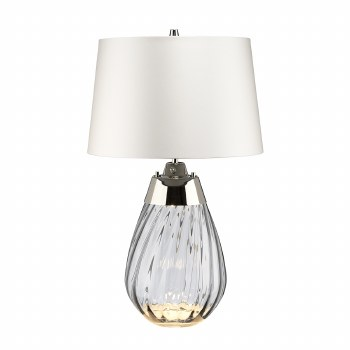 Elstead Lena Small Dual Light Smoke Glass Table Lamp with White Shade