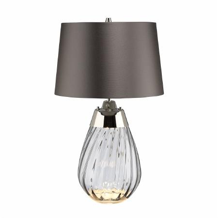 Elstead Lena Small Dual Light Smoke Glass Table Lamp with Slate Shade