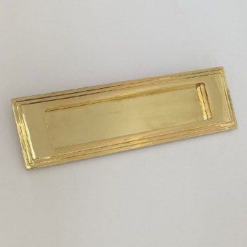 Aston Stepped Letter Plate 255mm Polished Brass Unlacquered