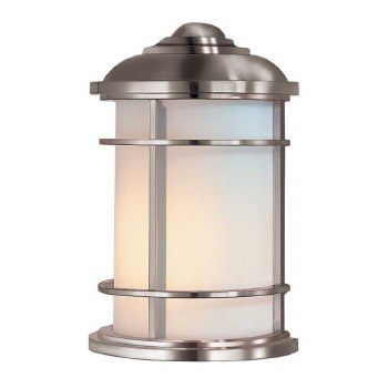 Feiss Lighthouse Outdoor Half Wall Lantern Brushed Steel