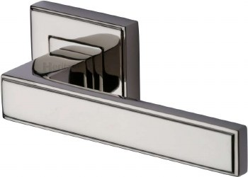 Heritage Linear Square Rose Door Handles DEC5430 Polished Nickel