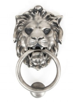 From The Anvil Lion Head Door Knocker Antique Pewter